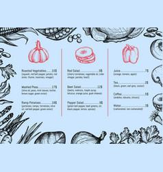 vegan cafe menu identity typographic design vector image