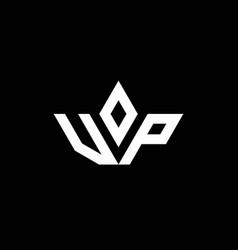 Vp monogram logo with crown shape luxury style vector