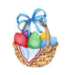 Watercolor of a wicker basket with a blue bow vector