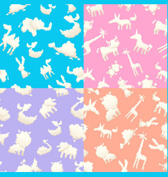 Weather patterns with clouds seamless patterns vector