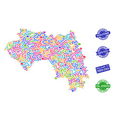 Welcome collage of mosaic map of french guinea and vector