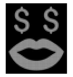 White halftone prostitution smiley icon vector