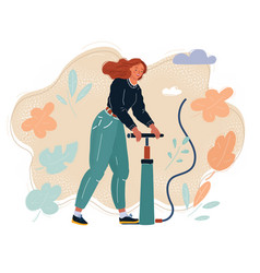 woman filling air in with pumper pump it up vector image