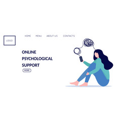 Woman with mental health problems have online vector