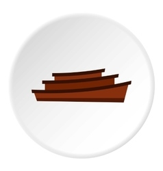 Wooden boats icon flat style vector