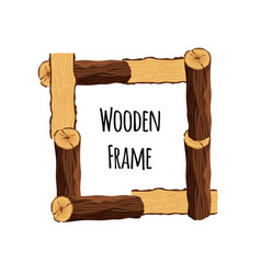 Wooden frame of tree logs isolated on white vector