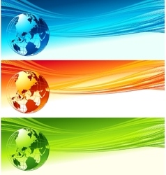 Abstract waves with globe design eps 10 vector image