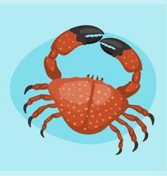 cartoon crab flat fresh vector image