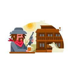 cowboy with revolver drinks beer in pub vector image