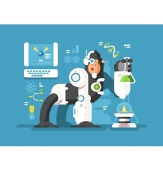 Robot monkey scientist vector image