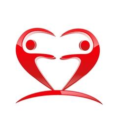 Teamwork heart shape logo vector image vector image