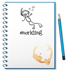 A notebook with a sketch of a person snorkling vector image vector image