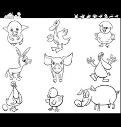 cartoon farm animals set coloring book vector image vector image