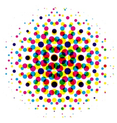 color dot with cmyk halftone pattern vector image vector image