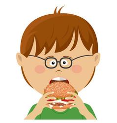 cute little nerd boy with glasses eats burger vector image