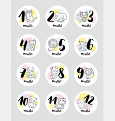 cute months stickers with animals for baby vector image