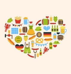 Heart made in Oktoberfest Traditional Symbols vector image vector image