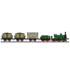 historical freight steam train vector image vector image
