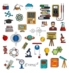 Science colorful sketches for education design vector image