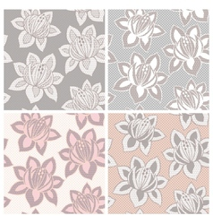 Set of four lace seamless patterns with flowers vector image vector image
