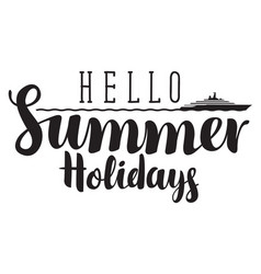 summer banner with inscription sea and steamship vector image