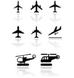 airplane helicopter symbol set vector image vector image