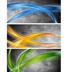Colourful waves banners vector image