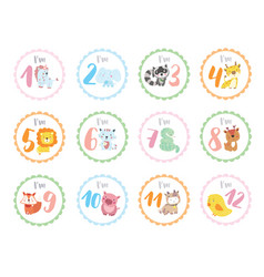 cute birthday stickers with animals for babies vector image