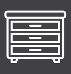 drawer unit line icon furniture and interior vector image vector image