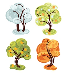 four season simple trees vector image