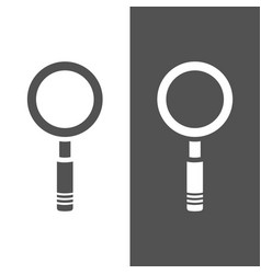 magnifying glass icon on a dark and white vector image
