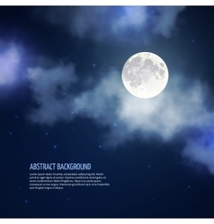 Night sky with moon and clouds abstract vector image vector image