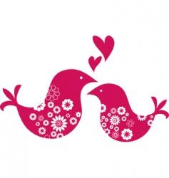 retro love birds with hearts vector image vector image