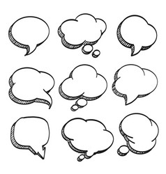 sketch of hand drawn comic speech bubble vector image