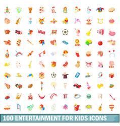 100 entertainment for kids icons set vector image vector image
