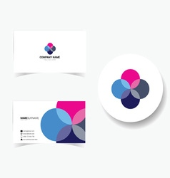Business card with four color and pink vector