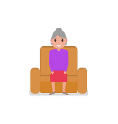cartoon grandmother sitting in a armchair vector image