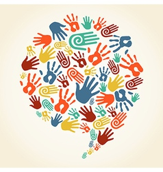 Global diversity hand prints speech bubble vector image