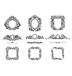 set of vintage decorations frame elements vector image