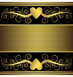 valentine background with gold heart vector image vector image
