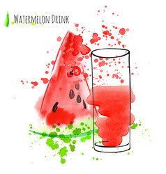 watermelon drink with slice of watermelon fresh vector image