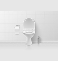 3d realistic white ceramic toilet brush vector image