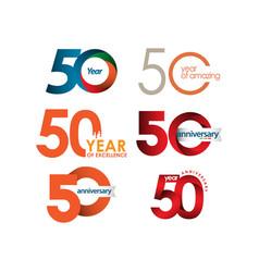 50 year anniversary set template design vector