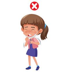 A girl cough from corona virus vector