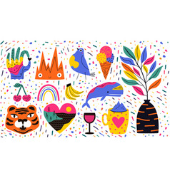 abstract set with animals food wine and doodle vector image
