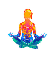 abstract woman meditating from splash of vector image