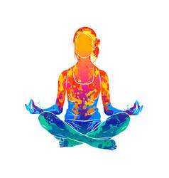 Abstract woman meditating from splash vector