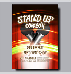 advertising poster of comedy show in club vector image