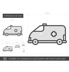 Ambulance car line icon vector image