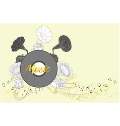 background with gramophones sketches vector image